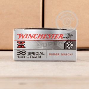 A photograph detailing the 38 Special ammo with Lead Wadcutter bullets made by Winchester.