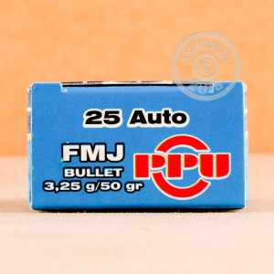 Image of .25 ACP ammo by Prvi Partizan that's ideal for training at the range.