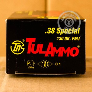 A photo of a box of Tula Cartridge Works ammo in 38 Special.