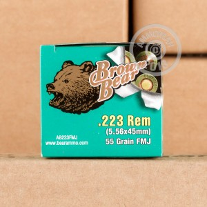 Image of Brown Bear 223 Remington rifle ammunition.