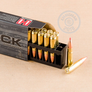 A photograph detailing the 300 AAC Blackout ammo with V-MAX bullets made by Hornady.