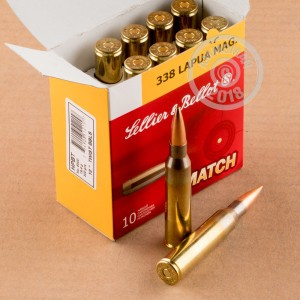 An image of 338 Lapua Magnum ammo made by Sellier & Bellot at AmmoMan.com.