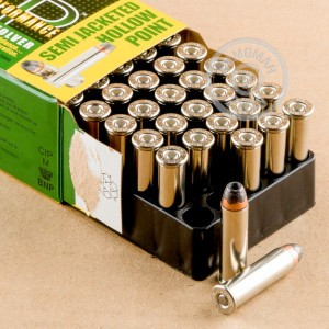 A photograph of 500 rounds of 158 grain 357 Magnum ammo with a semi-jacketed hollow-Point (SJHP) bullet for sale.