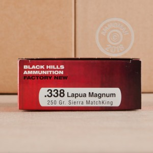 An image of 338 Lapua Magnum ammo made by Black Hills Ammunition at AmmoMan.com.