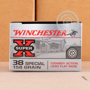 A photograph of 50 rounds of 158 grain 38 Special ammo with a Lead Flat Nose bullet for sale.