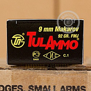 Photo of 9x18 Makarov FMJ ammo by Tula Cartridge Works for sale at AmmoMan.com.