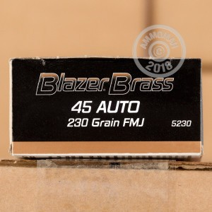 A photo of a box of Blazer Brass ammo in .45 Automatic.