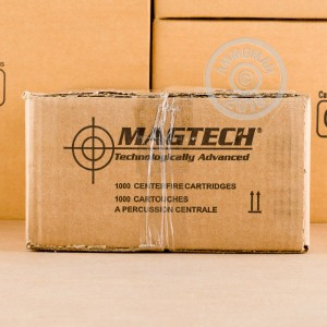 Image of 5.56x45mm ammo by Magtech that's ideal for hunting varmint sized game, training at the range.