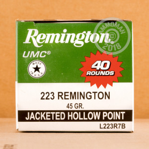 A photograph of 40 rounds of 45 grain 223 Remington ammo with a JHP bullet for sale.