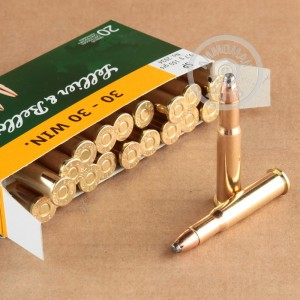 A photograph of 20 rounds of 150 grain 30-30 Winchester ammo with a soft point bullet for sale.