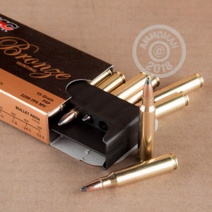 Image of 223 Remington ammo by PMC that's ideal for hunting varmint sized game, hunting wild pigs, whitetail hunting.