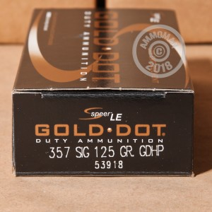 A photograph detailing the 357 SIG ammo with JHP bullets made by Speer.