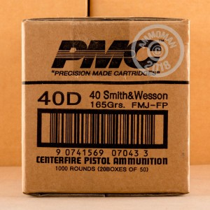 A photograph of 300 rounds of 165 grain .40 Smith & Wesson ammo with a FMJ bullet for sale.