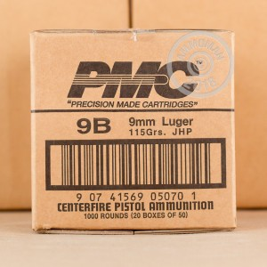 A photo of a box of PMC ammo in 9mm Luger.