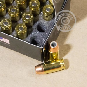Image detailing the brass case and boxer primers on the Pierce Performance Ammunition ammunition.