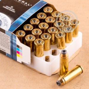 Image of 44 Remington Magnum ammo by Federal that's ideal for home protection, hunting wild pigs, whitetail hunting.