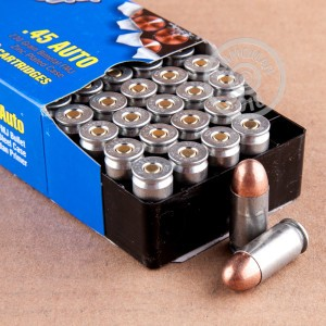 A photograph of 50 rounds of 230 grain .45 Automatic ammo with a FMJ bullet for sale.