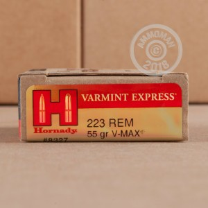 A photograph of 20 rounds of 55 grain 223 Remington ammo with a V-MAX bullet for sale.