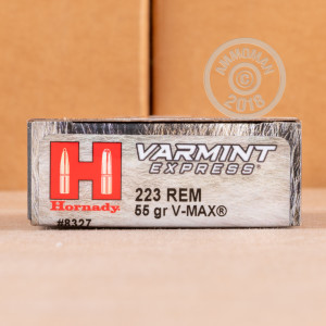 Photo of 223 Remington V-MAX ammo by Hornady for sale.