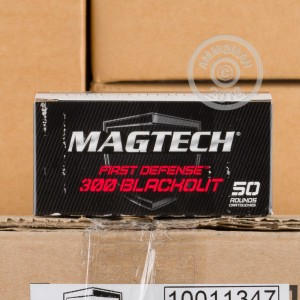 Image of 300 AAC Blackout ammo by Magtech that's ideal for training at the range.