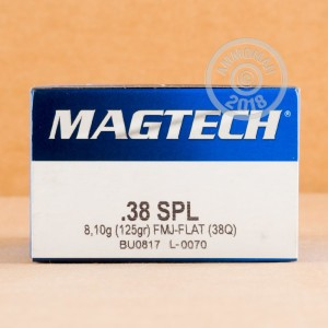 A photograph detailing the 38 Special ammo with FMJ bullets made by Magtech.