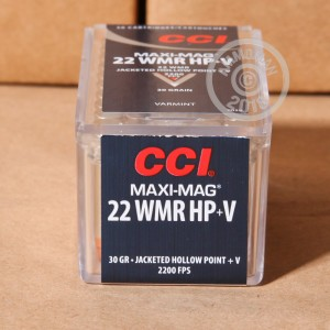 rounds of .22 WMR ammo with JHP bullets made by CCI.