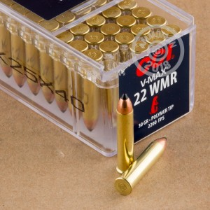 Photograph of .22 WMR ammo with Polymer Tipped ideal for hunting varmint sized game.
