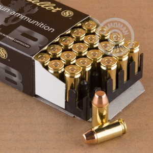 Image of .40 Smith & Wesson ammo by Sellier & Bellot that's ideal for training at the range.