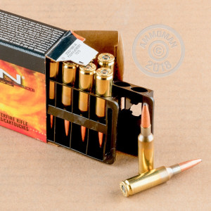 A photograph detailing the .224 Valkyrie ammo with soft point bullets made by Federal.