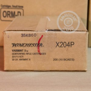 A photo of a box of Winchester ammo in 204 Ruger.