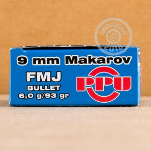 Image of 9x18 Makarov ammo by Prvi Partizan that's ideal for training at the range.