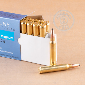 A photograph detailing the 300 Winchester Magnum ammo with soft point bullets made by Prvi Partizan.