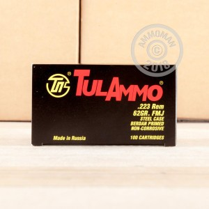 Image of Tula Cartridge Works 223 Remington rifle ammunition.