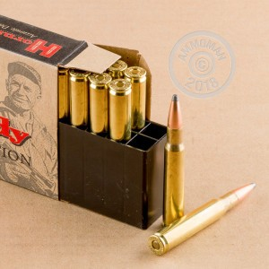 A photograph of 20 rounds of 180 grain 30.06 Springfield ammo with a Spire Point bullet for sale.