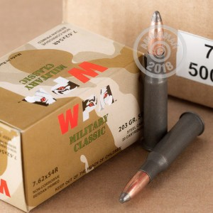 Image of 7.62 x 54R rifle ammunition at AmmoMan.com.