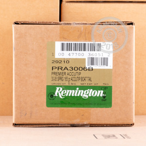 Image of 30.06 Springfield ammo by Remington that's ideal for big game hunting, hunting wild pigs, whitetail hunting.