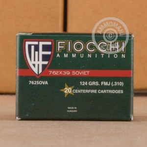A photograph detailing the 7.62 x 39 ammo with FMJ bullets made by Fiocchi.