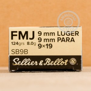 An image of 9mm Luger ammo made by Sellier & Bellot at AmmoMan.com.