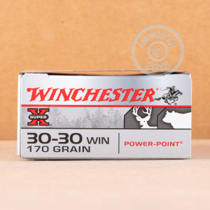 A photograph of 20 rounds of 170 grain 30-30 Winchester ammo with a Power-Point (PP) bullet for sale.