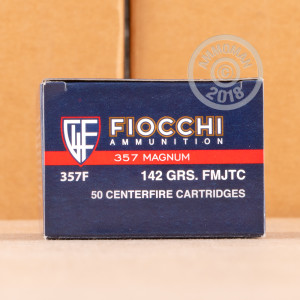 A photograph detailing the 357 Magnum ammo with FMJ bullets made by Fiocchi.