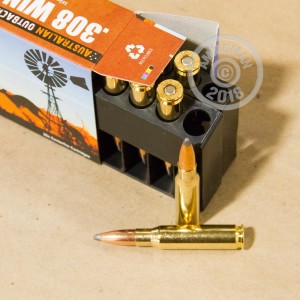 A photograph of 20 rounds of 165 grain 308 / 7.62x51 ammo with a Spitzer Boat Tail bullet for sale.