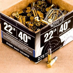 A photograph of bulk .22 Long Rifle ammo made by Federal at AmmoMan.com.