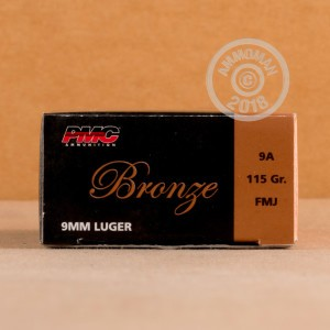 Image of bulk 9mm Luger pistol ammunition at AmmoMan.com.