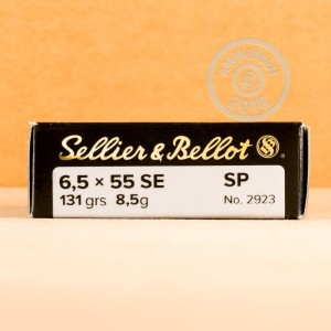 A photo of a box of Sellier & Bellot ammo in 6.5 x 55 Swedish.