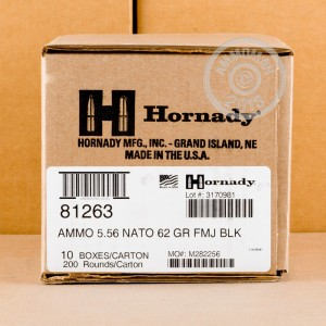 A photo of a box of Hornady ammo in 5.56x45mm.