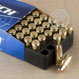A photograph detailing the 9mm Luger ammo with FMJ bullets made by Magtech.