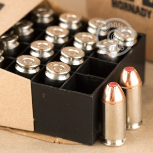 A photo of a box of Hornady ammo in .40 Smith & Wesson.