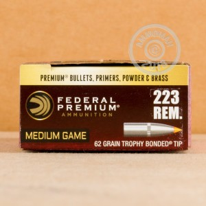 A photograph detailing the 223 Remington ammo with Trophy Bonded Tip bullets made by Federal.