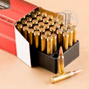 A photograph of 50 rounds of 62 grain 5.56x45mm ammo with a TSX bullet for sale.