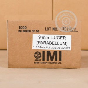 Photo of 9mm Luger FMJ ammo by Israeli Military Industries for sale at AmmoMan.com.